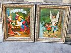 Victorian Antique German holy Icon picture Nativity of Jesus  Guardian Angel