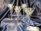 Vintage Cut Crystal Water Wine Glass With Twisted Stem Set of Four