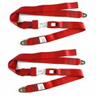 Red BELT1B Set of 2 Rear Left/Right Non-Retractable Seat Belts for Wrangler YJ