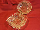 Vtg Pressed Glass Bowl Crystal Clear Indiana Diamond Point Square 8