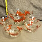 Vintage Retro 1970's Glass Popcorn Bowl Set Red by Wheaton Never Used!