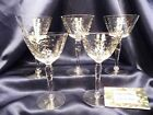 Vintage Crystal Cordial Wine Glass Floral Dots V Cut Stem Set of five
