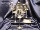 Romanian Crystal wine glass etched flower twisted stem tulip shape Set of Six