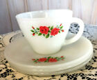 Lot 4-Vtg.Fire King/Anchor Hocking Milk Glass 6 oz.Cup/Saucer-RED ROSE Flowers
