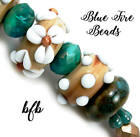 BFB Premium Handmade Lampwork  Czech Glass Beads MIXED SANDS TEAL TURQUOISE