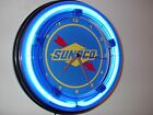 Sunoco Oil Gas Station Garage Man Cave Advertising Blue Neon Wall Clock Sign