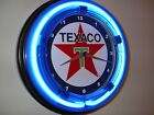 Texaco Oil Gas Station Garage Man Cave Advertising Blue Neon Wall Clock Sign