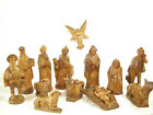 Hand Carved Painted Wood Nativity Figures Fine Detail Set 13 Pc Christmas Estate