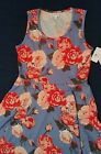 LuLaRoe Extra Large XL Nicki Swing Dress Blue Pink Red White Peony Rose Flowers