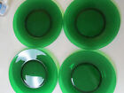 4 Vintage Forest Green Clear Glass Round 9