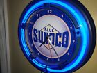 Blue Sunoco Oil Gas Station Garage Man Cave Blue Neon Wall Clock Sign