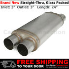 Stainless Steel Straight Thru Muffler 3 inch Two Outlets Inlets Offset 256342