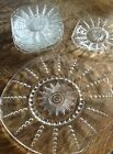 Vintage Depression Clear Glass Sunburst Pattern Cake plate and 7 serving plates