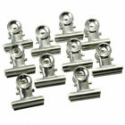 10 Pcs Bulldog Letter Clips Stainless Steel Silver Metal Paper Binder Clip H8N9