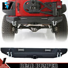 Newest For Jeep Wrangler JK Textured Rear Bumper With Hitch Receiver+2pods US