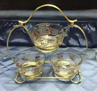 Vintage LIBBY condiment Caddy With Gold Leaves Pattern