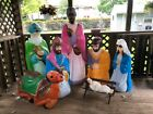 8 PIECE LIFE SIZE EMPIRE BLOW MOLD YARD LIGHT NATIVITY SET LOCAL PICKUP