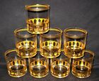 Vintage 8 Culver 22K Gold Bar Ware Antigua Low Ball Glasses/Tumblers