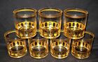 Vintage 7 Culver 22K Gold Bar Ware Antigua Low Ball Glasses/Tumblers