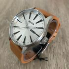 Nixon Sentry Leather Silver And Tan Men's Watch 42mm