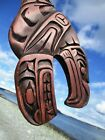 First Nations Northwest Coast native wooden Art carved WHALE and EAGLE spirit