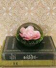 Art Glass Pink Rose Paperweight Green Bubble Glass Paperweight