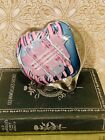 Vintage Signed Schmidt Rhea Art Glass Paperweight Pink Blue Heart Paperweight