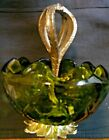 VINTAGE COLLECTIBLE Green Diamond Shape GLASS CANDY DISH WITH HANDLE