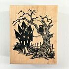 PSX Halloween Night F 2784 Rubber Stamp Haunted House Tree Owl Fence Moon