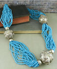 Bali Style Multi Strand Blue Beaded Statement Necklace w Large Silver Tone Beads