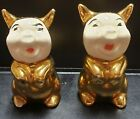 Vintage Pigs In Shiny Gold Suit Salt pepper Shakers