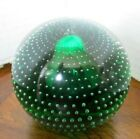 VTG PAIRPOINT Art Glass CONTROLLED BUBBLE Crystal 25 PAPERWEIGHT Green RARE