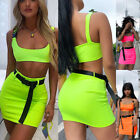 Womens Crop Top Short Skirt Bodycon Summer Evening Cocktail Party Two Piece Set