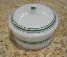 VINTAGE HAZEL ATLAS COVERED MILK GLASS REFRIGERATOR  BOWL with GREEN ACCENTS