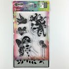 Ranger Dylusions Fancy Lady Clear Stamp  Stencil Set Woman Bird Heart Love