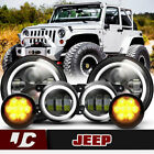 For 07 18 Jeep Wrangler JK LED Headlight+Fog Light+Turn Signal LightsWaterproof