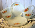 Lot 7-Vtg.Fire King Milk Glass Cup/Saucer-Yellow Orange Daisy/Cosmos/Flowers