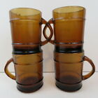 ANCHOR HOCKING Fire King Amber Brown Barrel Style Glass Mugs Coffee Cups 4