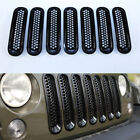 7pcs Black Honeycomb Front Grille Cover Insert Mesh for 07 17 Jeep Wrangler JK