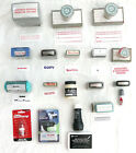 Lot of 14 Self Inking Rubber Office Stamps Ink Pad Red  Black Inkers  More