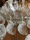 Hazel Atlas Glass Clear Williamsport Prism Cut 32 piece Punch Bowl Set cups clip