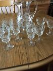 's Vintage Etched Glass Pitcher And 9 Glasses Set - Grapes And Leaves