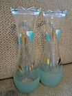 Vtg Bartlett Collins hand painted pair of vases frosted glass aqua mid century