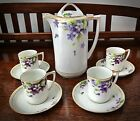 Rare Nippon Hand Painted Violets Chocolate Tea Set Authentic Rising Sun Mark