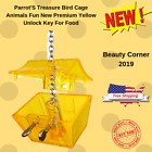 Parrot'S Treasure Bird Cage Animals Fun New Premium Yellow Unlock Key For Food