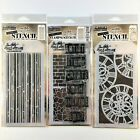 Tim Holtz Lot Of 3 Clear Stamp Set  Stencils Graffiti Clockwork Stripes