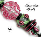 BFB Premium Handmade Lampwork  Czech Glass Beads BLACK WINE SILVER DISK