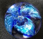 Glass Eye Studio Paperweight GES 01 Blue Iridescent  Blue Bubble Flower Artist