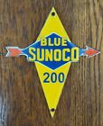 VINTAGE BLUE SUNOCO PORCELAIN GASOLINE OIL SERVICE STATION SIGN