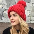 Simplee Knitting wool ball skullies beanies Casual streetwear warm hat cap Women
